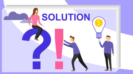 Problem and solution concept. Search for confused idea or problem doubt solution. Vector illustration of communication of people in search of solutions to problems. Illustration
