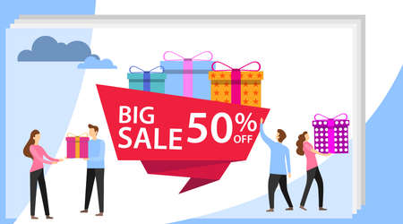 Sale poster and flyer with giant gift boxes and small people, men and women. Big Sale with four young people design for website banner or poster sale. Illustration