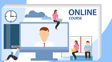 Online education concept with text place. Online training, workshops and courses. Small people look at the screen and using cloud technology. Illustration