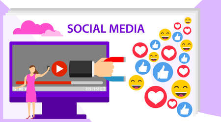 Social influencer concept. Social media concept banner with text place. Media content to grab like from social audience. Flat style vector illustration.