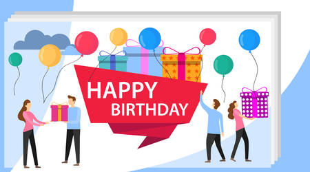 Happy Birthday Party Celebration with Friend. Vector Illustration of a Happy Birthday Greeting Card. Gift Design for Happy Birthday Greeting Event. Company Friendship Decoration Concept.