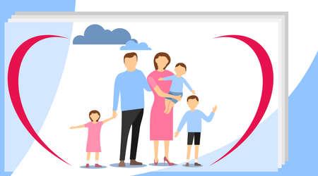 Big happy family. Big family with children concept. Flat cartoon vector illustration. Big modern family vector flat design illustration.