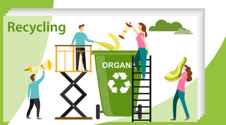 Recycling concept. Can use for web banner, infographics, hero images. Recycling garbage elements trash bags tires management industry utilize. Illustration