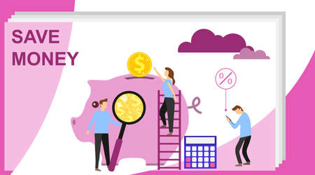 Money saving concept with characters. Piggy bank and coins concept. Can use for web banner, infographics, hero images. Can use for web banner, infographics, hero images.