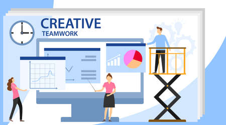 Vector illustration. Creative teamwork. Business concept vector illustration, little people are launching a mechanism to achieve ideas. People are building a business project on the Internet. Illustration
