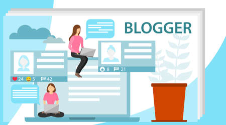 Blogger. The concept of a blogger. A female blogger is in social networking with a friend. Flat design, vector illustration, vector.