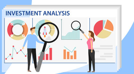 Investment analysis concept banner with characters. Commerce solutions for investments, analysis concept. Analysis of sales, statistic grow data, accounting infographic