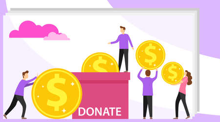 Donation of money. Mini people donate money to the box. Group of donors give money. Can use for web banner, infographics Illustration
