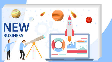 Startup new business. The concept of a startup. The rocket takes off from a laptop and flyer to the stars. Flat design, vector illustration, vector.
