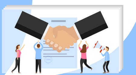 Vector illustration, handshake, conclusion of a contract. Symbol of success deal, happy partnership icon, greeting shake. Successful partnership.