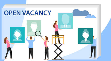 Vector business graph, open vacancy. Creative illustrations, businessmen are considering a resume. Business company is looking for an employee for a job. Flat design, vector illustration, vector.