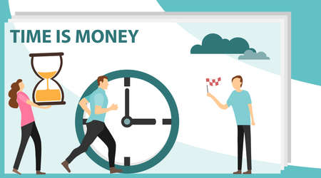Times is money. Concept save time, Money saving. Business and management, Piggybank, time is money, financial investments. Flat design, vector illustration, vector  イラスト・ベクター素材