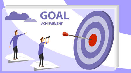 Businessman searching target. Vector illustration, a man seeks up on a paper plane, achieving a goal, the path to success is motivation, career advancement. Successful, Achievement, Goal.