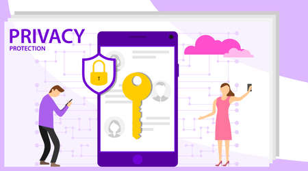 Cyber security concept with characters. Infographic, banner with hero protect data and confidentiality. Safety and confidential data protection, concept with character saving code