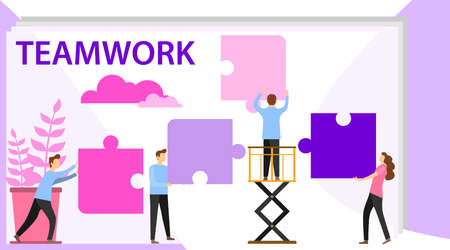 Business concept of vector illustration, little people links of mechanism. Characters of business people holding cogwheels. Business mechanism, abstract background with gears, people are engaged. Ilustração