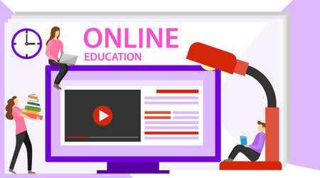 Online education concept banner with characters. Online Education Landing Page for web. Online training, workshops and courses.