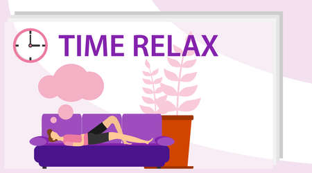 A man is resting on the sofa. Time relax. A man sleeps on the sofa and sees a dream. Flat design, vector illustration, vector. Illustration