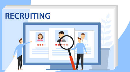 Recruitment concept banner with character. Hiring and recruitment concept for web page, banner, presentation. Recruitment presentation.