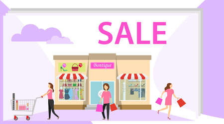 Shopping. Women with shopping out of the boutique. Women with shopping bags out of the boutique. Flat design, vector illustration, vector.