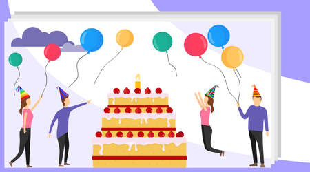Happy birthday concept banner with people. Family party with happy people and big cake. Cartoon corporate birthday party.
