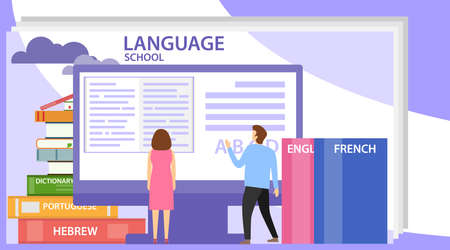 Language school concept banner with character. Perfect for advertising, poster, banner. Also can be used for language courses and school. Language school training program.