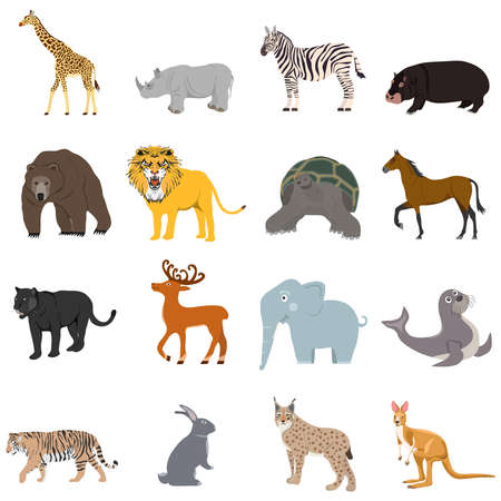 Animals, a large set of animals. Cartoon illustration of animals.