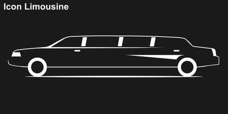 Limousine. Weiße Silhouette einer Limousine auf schwarzem Hintergrund. Limousine-Symbol.