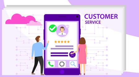 Custromer service feedback concept. The concept of customer service. Online service maintenance. Vector illustration. Illustration