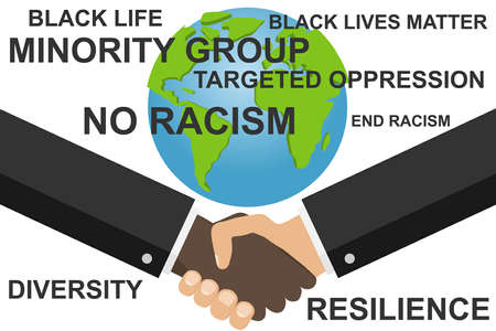 Stop racism. Handshake of two men. Banner to combat racism and gender inequality.