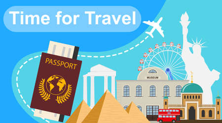 Time to travel. Banner time to travel with various landmarks. Vector illustration of travel concept.