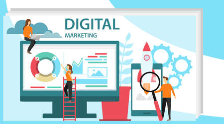 Digital marketing concept. Concept for Digital marketing agency. Specialists working on digital marketing strategy landing page.