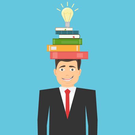 A creative idea came to mind. Search for a creative idea. Light bulb with books on a mans head. Startup idea. Illustration