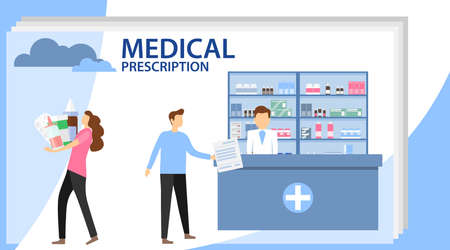 Medical prescription. Pharmacist chemist man in pharmacy. Man buys drugs at the pharmacy. Medicine, healthcare and technology.