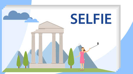 Selfie Girl Cartoon Character Illustration. A girl makes a selfie on the background of historical attractions. Selfie Girl Holding a Smartphone.