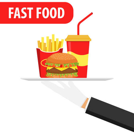 Hand holds on a fast food tray. Fast food banner. Hamburger, soda and fried potatoes.