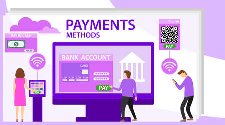 Cash money and electronic payment methods. Payment methods vector flat illustration. Payment method and option or channel to transfer money. Ilustração