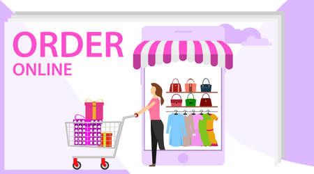 Order online concept design. Online shopping banner, mobile app templates, concept vector illustration flat design. Can be used for web banner, infographics, hero images.