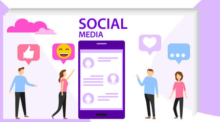 Social media concept with characters. Media content like from social audience. Social media concept banner. Flat style vector illustration.