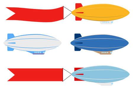 Luftschiff, Satz Luftschiffe, isoliert auf weiss. Das Luftschiff zieht das Banner.