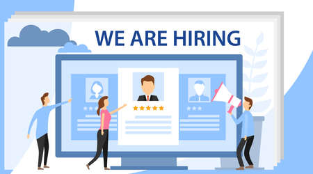 Hiring and recruitment concept with characters. We are hiring concept banner. Web recruit resources, choice, research or fill form for selection.