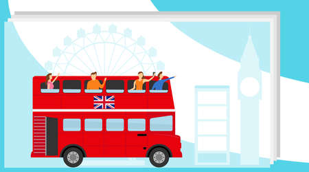 Tourists traveling in double-decker bus. Bus travel concept. Illustration