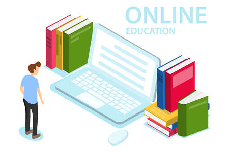 Online education. The concept of online education, training, courses. A man looks at the laptop screen. Illustration