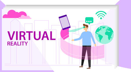 Man use vr technology concept. Vector illustration - man in virtual reality glasses. Into virtual reality world. Future Illustration