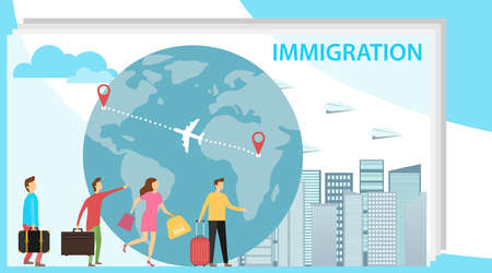 Immigration. Mini people migrate to developed countries. The concept of migration of people against the background of the Earth. Vector illustration, vector. Illustration