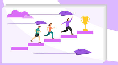 The path to the goal. People run up the stairs to their goal. Motivation to move to the goal. Vector illustration of success motivation, vector.