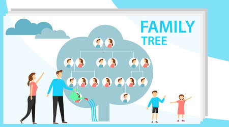 Family tree in modern flat illustration. A man is watering a family tree with photos of relatives, and a pregnant wife is standing nearby. Human genealogical heritage collection