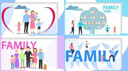 Family, big happy family, family tree. Vector illustration vector