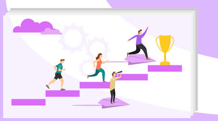 People go to their goal. Vector illustration, a man seeks up on a paper plane, achieving a goal. People fly to their goal on paper airplanes. Vector. Stock Illustratie