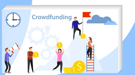 People funding. Collective financial cooperation of people. Combining financial resources. Flat vector illustration of co-financing project concept.