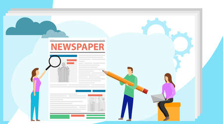 The journalist edits the text of the newspaper. Editing an article, censorship. Printed edition. Vector illustration.